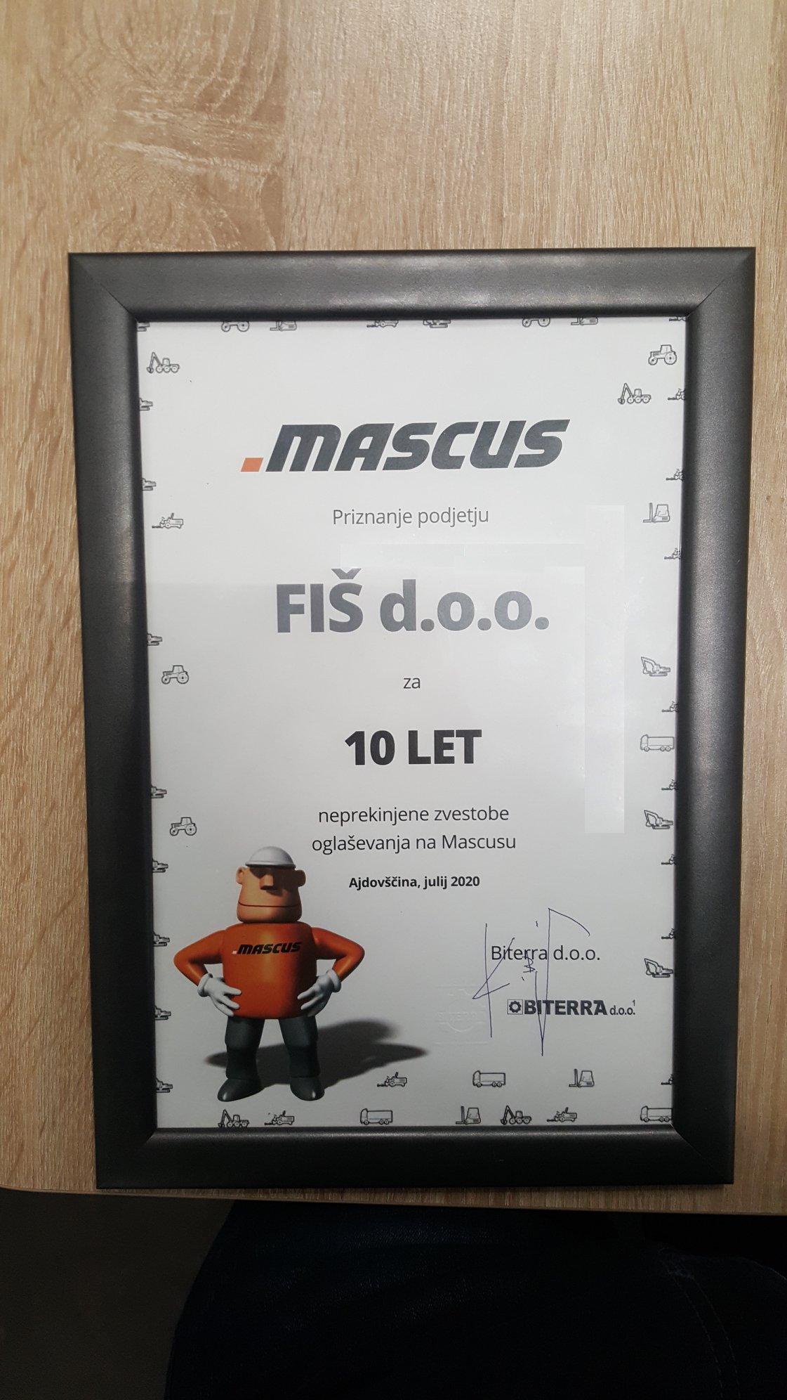 Mascus 10 let Fiš d.o.o. obletnica sodelovanja